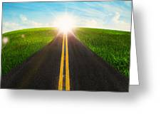 Long Road In Beautiful Nature  Greeting Card