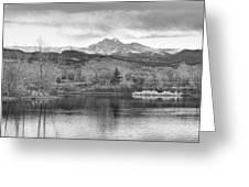 Longs Peak And Mt Meeker Sunrise At Golden Ponds Bw  Greeting Card
