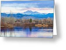 Longs Peak And Mt Meeker Sunrise At Golden Ponds Greeting Card