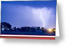 Looking East Lightning Strike Greeting Card