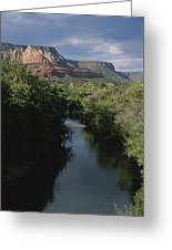 Looking Up Oak Creek At The Red Rocks Greeting Card