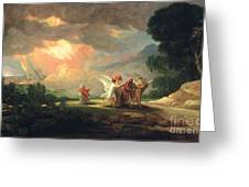 Lot Fleeing From Sodom Greeting Card