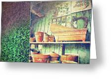 Lots Of Different Size Pots In The Shed Greeting Card by Sandra Cunningham