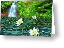 Lotus And Waterfall Greeting Card