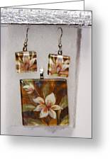 Lotus Flower Pendant And Earring Set Greeting Card