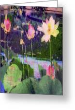 Lotus Reflection - Vertical Greeting Card