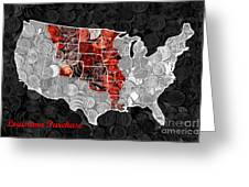 Louisiana Purchase Coin Map . V1 Greeting Card
