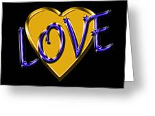 Love In Gold And Blue Greeting Card