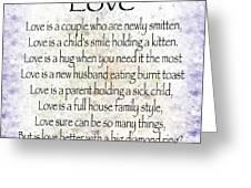 Love Poem In Purple  Greeting Card