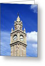 Low Angle View Of A Clock Tower, Albert Greeting Card