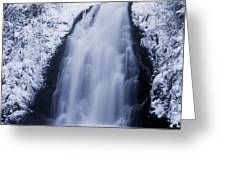 Low Angle View Of A Waterfall, Glenoe Greeting Card