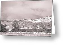 Low Clouds On The Colorado Rocky Mountain Foothills 3 Bw Greeting Card