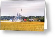 Low County Marsh View Shrimp Boats Greeting Card