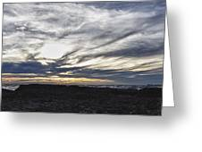Low Hanging Clouds At Sunset Greeting Card