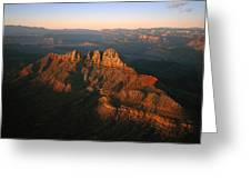 Low Sunlight Shines On Mountains Greeting Card