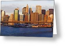Lower Manhattan And The Brooklyn Bridge Greeting Card by Jeremy Woodhouse