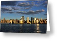 Lower Manhattan At Sunset, Viewed From Greeting Card