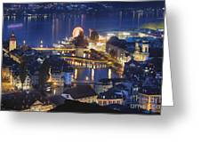 Lucerne At Night From Above Greeting Card by George Oze