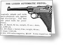 Luger Automatic Pistol Greeting Card