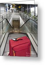 Luggage At The Top Of An Escalator Greeting Card by Jaak Nilson