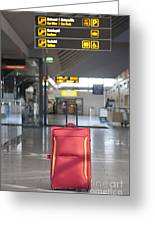 Luggage Sitting Alone In An Airport Terminal Greeting Card