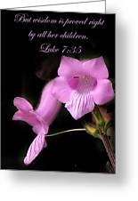 Luke 7 35 Pink Penstemon Flower Greeting Card