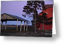 Lunar Eclipse At The Farm Greeting Card