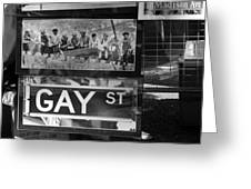 Lunch Time Between Fashion Ave And Gay St In Black And White Greeting Card by Rob Hans