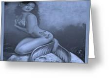 Lydia The Tattooed Mermaid In Cyan Greeting Card