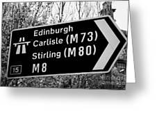 M8 Motorway Sign In Glasgow Scotland Uk Greeting Card
