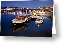 Maastricht Jetty On Maas River Greeting Card