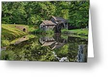 Mabry Mill And Pond With Reflection Greeting Card
