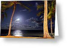 Maceio - Brazil - Ponta Verde Beach Under The Moonlit Greeting Card