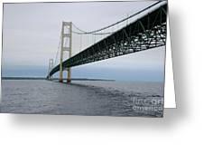 Mackinac Bridge From Water Greeting Card