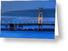 Mackinac Bridge In Evening Greeting Card