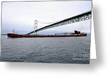 Mackinac Bridge With Ship Greeting Card