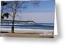 Mackinac Bridge With Trees Greeting Card