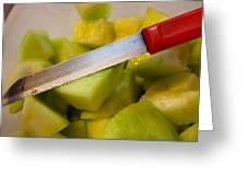 Macro Photo Of Knife Over Bowl Of Cut Musk Melon Greeting Card