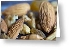 Macro Shots Of Various Dry Fruit Items Such As Almonds And Walnuts And Raisins Greeting Card