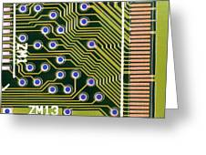 Macrophotograph Of Printed Circuit Board Greeting Card by Dr Jeremy Burgess