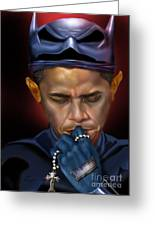 Mad Men Series 1 Of 6 - President Obama The Dark Knight Greeting Card