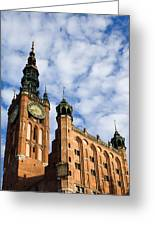 Main Town Hall In Gdansk Greeting Card