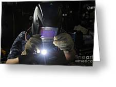 Maintenance Technician Uses A Tig Greeting Card