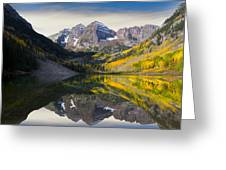 Majestic Maroon Bells Greeting Card by Tim Reaves