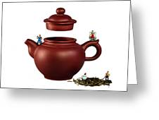 Making Green Tea On A Clay Teapot Greeting Card by Paul Ge