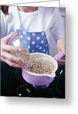 Making Porridge From Oats Greeting Card