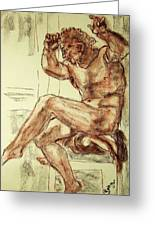Male Nude Figure Drawing Sketch With Power Dynamics Struggle Angst Fear And Trepidation In Charcoal Greeting Card