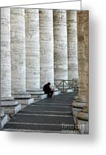 Man And Columns Greeting Card