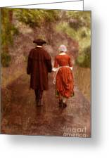 Man And Woman In 18th Century Clothing Walking Greeting Card