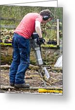 Man Breaking Concrete With A Jack Hammer. Greeting Card by Mark Williamson